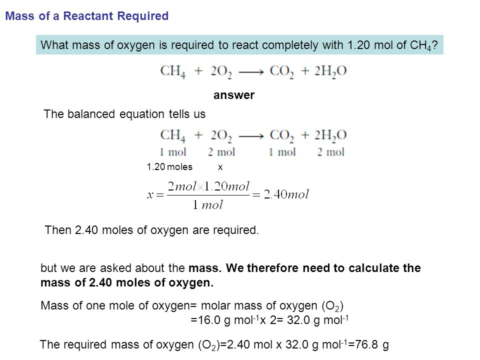 Mass of a Reactant Required