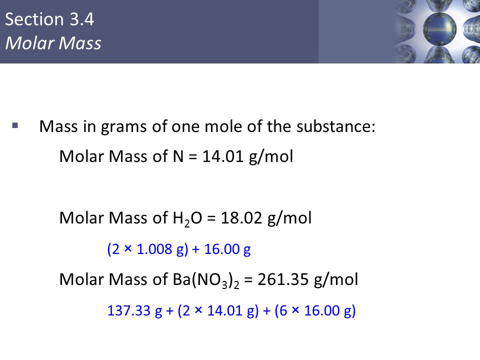 Molar Mass of Ba(NO3)2 = 261.35 g/mol