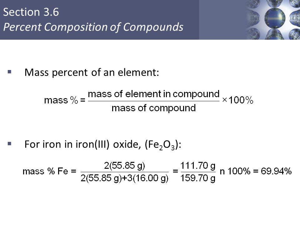 Mass percent of an element: