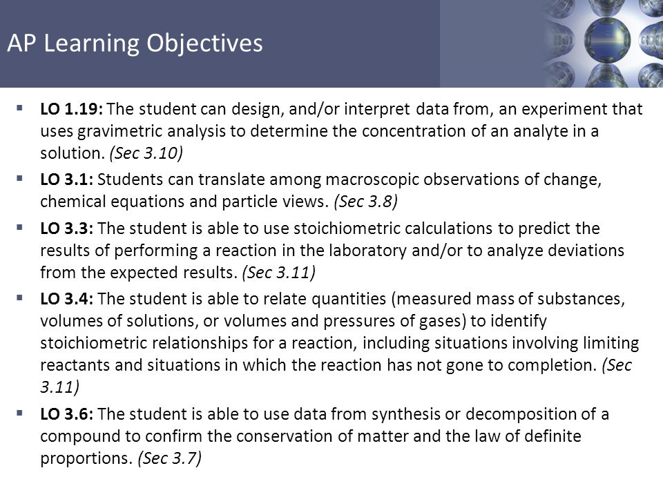 LO 1.19: The student can design, and/or interpret data from, an experiment that uses gravimetric analysis to determine the concentration of an analyte in a solution. (Sec 3.10)