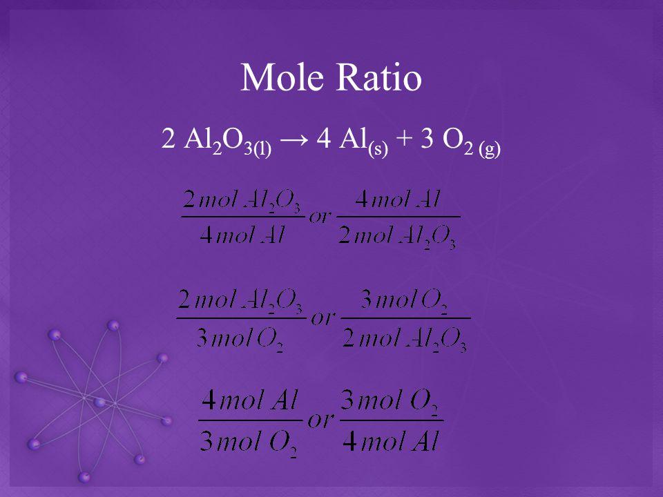 Mole Ratio 2 Al2O3(l) → 4 Al(s) + 3 O2 (g)
