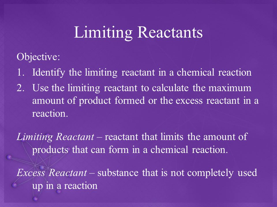 Limiting Reactants Objective: