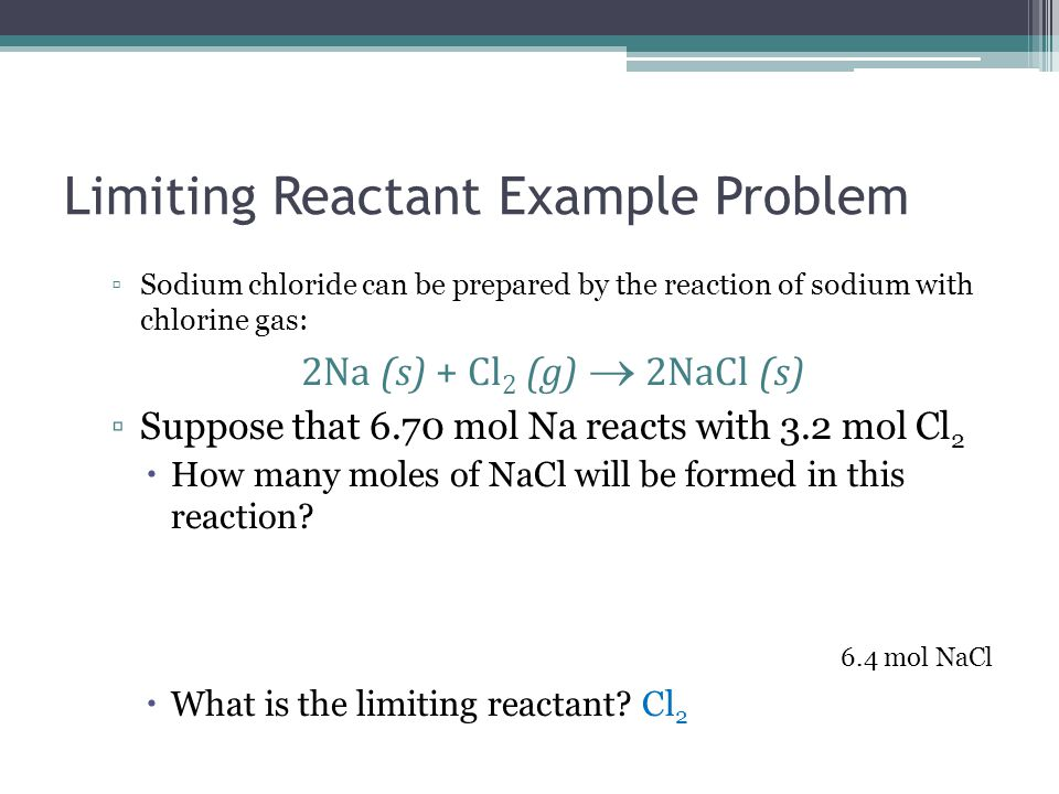 Limiting Reactant Example Problem