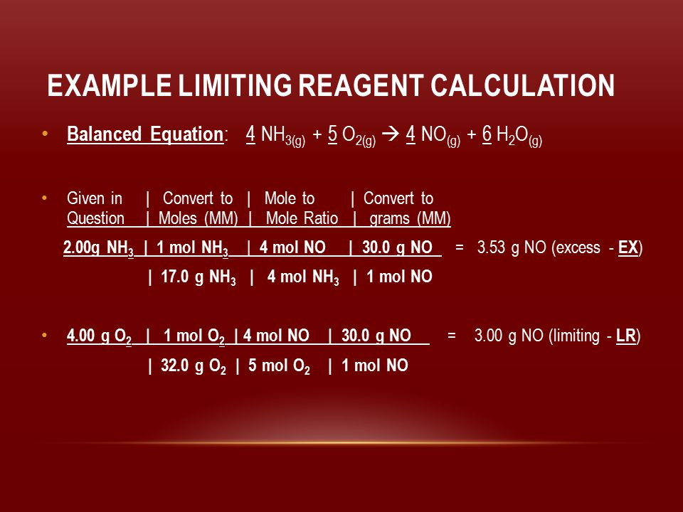 Example Limiting Reagent Calculation