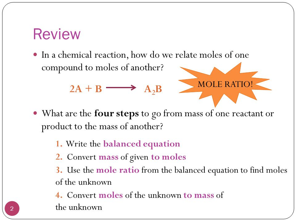 Review In a chemical reaction, how do we relate moles of one compound to moles of another