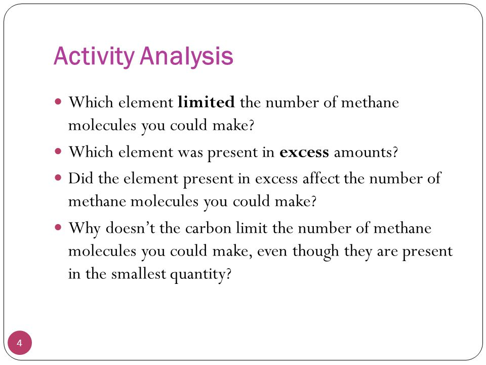 Activity Analysis Which element limited the number of methane molecules you could make Which element was present in excess amounts
