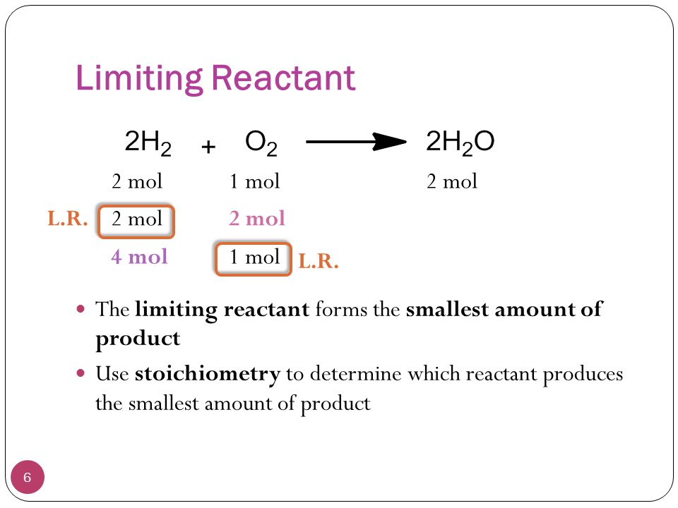 Limiting Reactant 2 mol 1 mol 2 mol L.R. 2 mol 2 mol 4 mol 1 mol L.R.