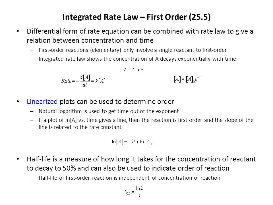 Integrated Rate Law – First Order (25.5)