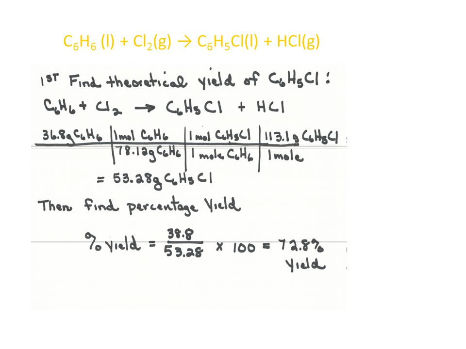 C6H6 (l) + Cl2(g) → C6H5Cl(l) + HCl(g)
