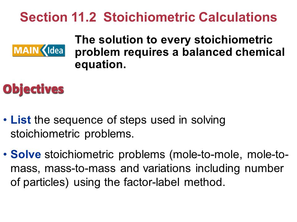 Section 11.2 Stoichiometric Calculations