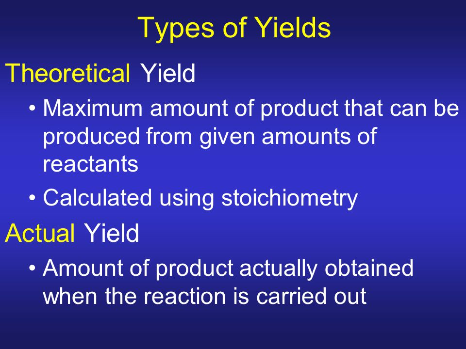 Types of Yields Theoretical Yield Actual Yield