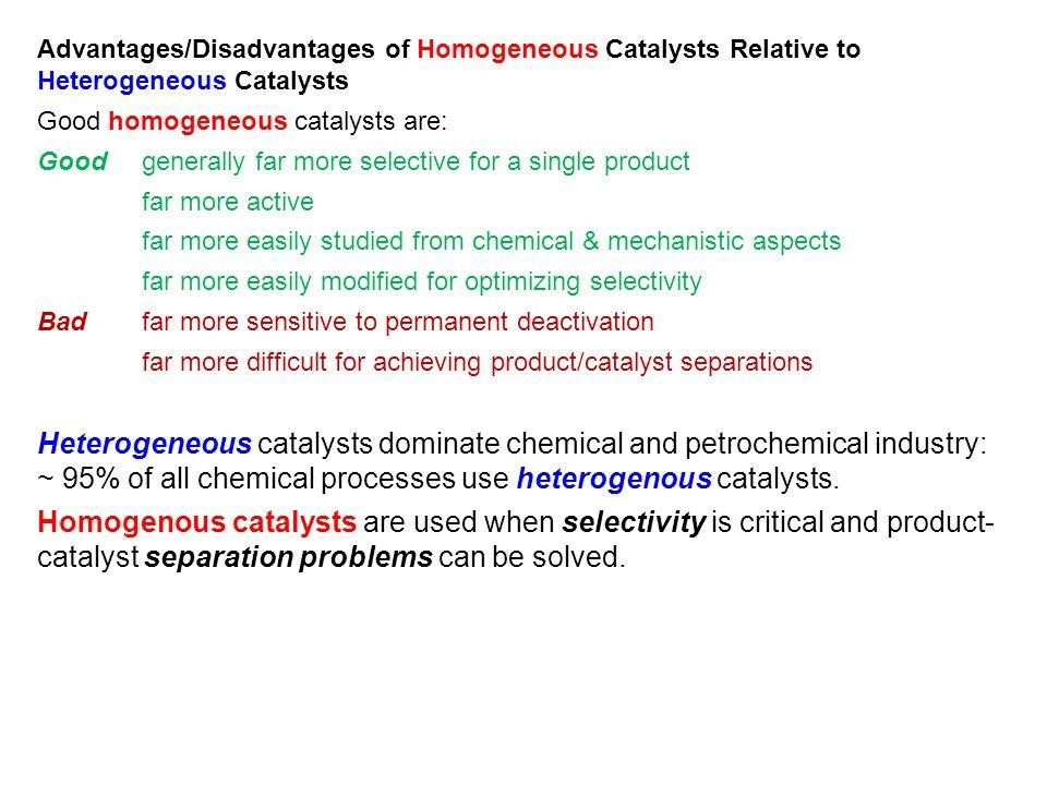 Advantages/Disadvantages of Homogeneous Catalysts Relative to Heterogeneous Catalysts