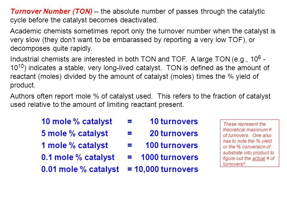 10 mole % catalyst = 10 turnovers 5 mole % catalyst = 20 turnovers