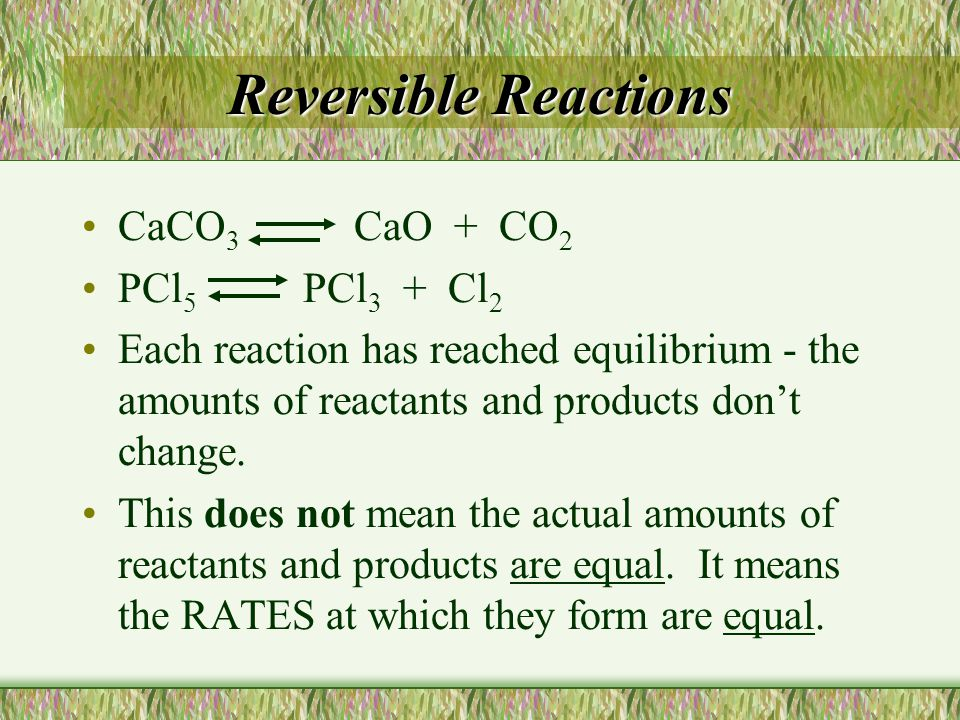 Reversible Reactions CaCO3 CaO + CO2 PCl5 PCl3 + Cl2