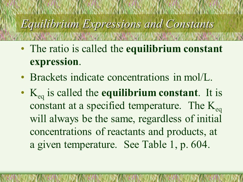 Equilibrium Expressions and Constants