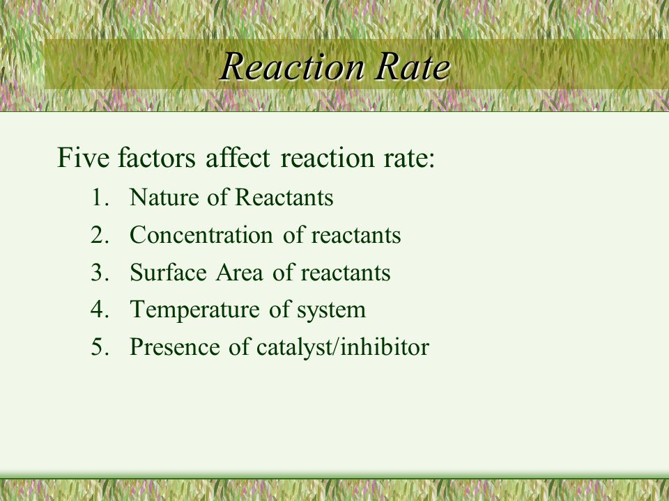 Reaction Rate Five factors affect reaction rate: Nature of Reactants