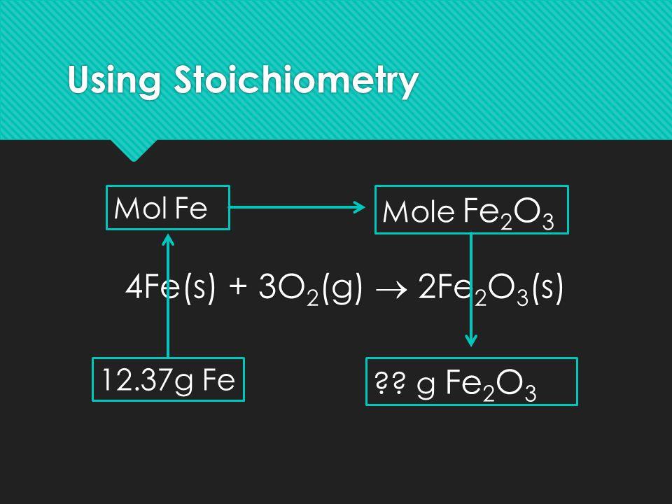 Using Stoichiometry 4Fe(s) + 3O2(g)  2Fe2O3(s) Mol Fe Mole Fe2O3