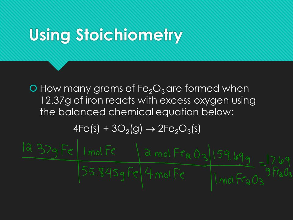 Using Stoichiometry How many grams of Fe2O3 are formed when 12.37g of iron reacts with excess oxygen using the balanced chemical equation below: