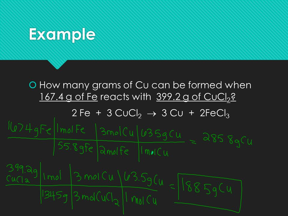Example How many grams of Cu can be formed when 167.4 g of Fe reacts with 399.2 g of CuCl2.