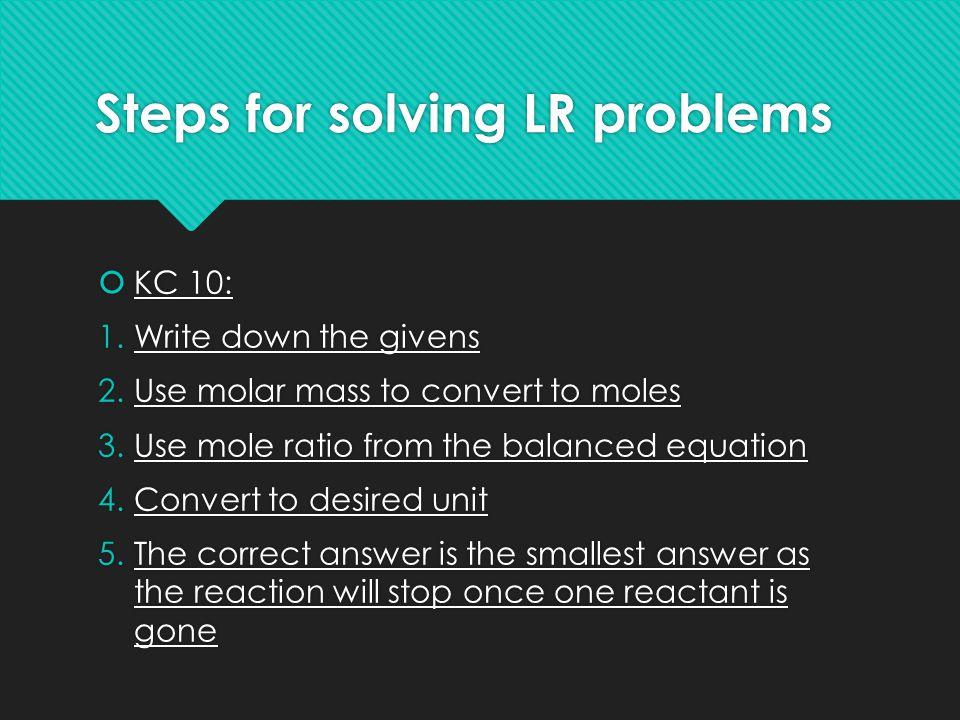 Steps for solving LR problems