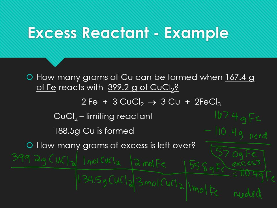 Excess Reactant - Example