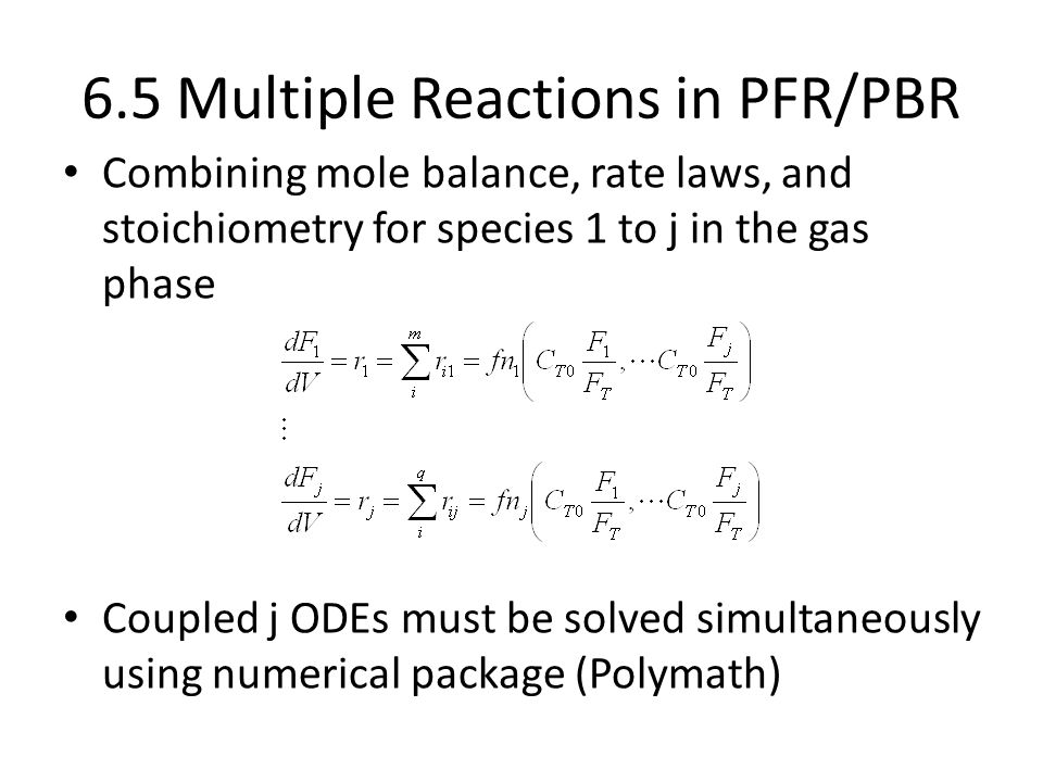 6.5 Multiple Reactions in PFR/PBR