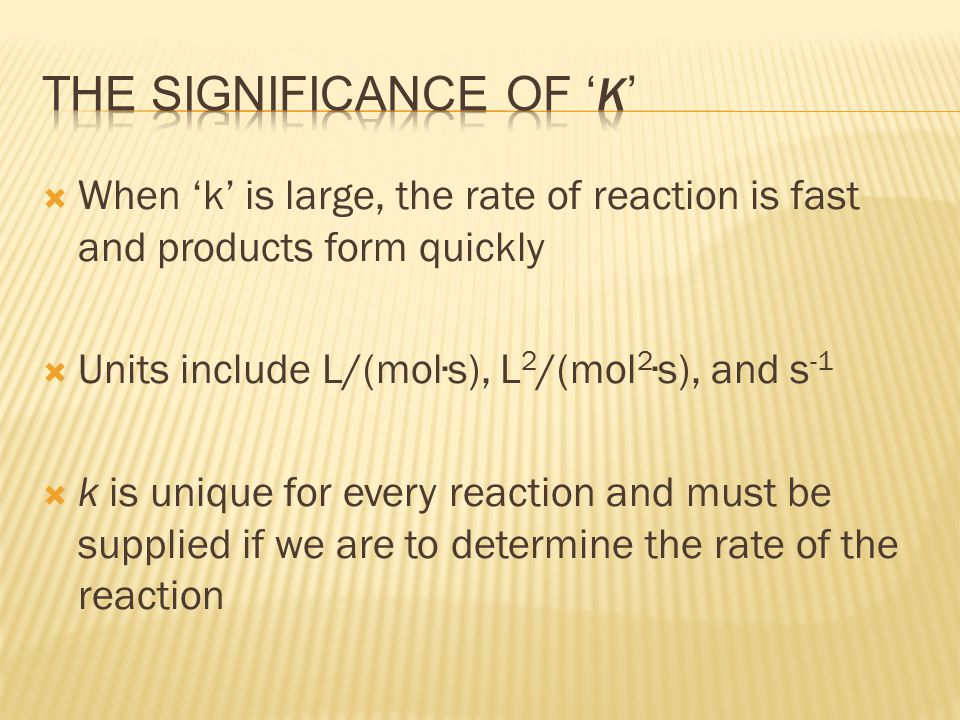 The significance of 'k'