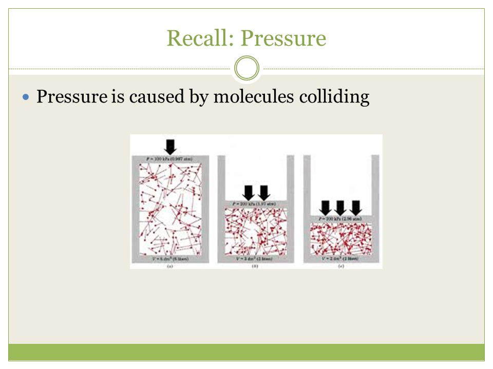 Recall: Pressure Pressure is caused by molecules colliding