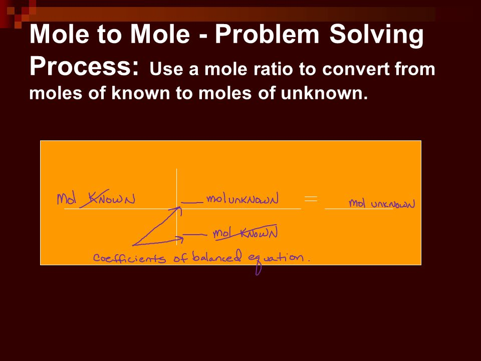 Mole to Mole - Problem Solving Process: Use a mole ratio to convert from moles of known to moles of unknown.