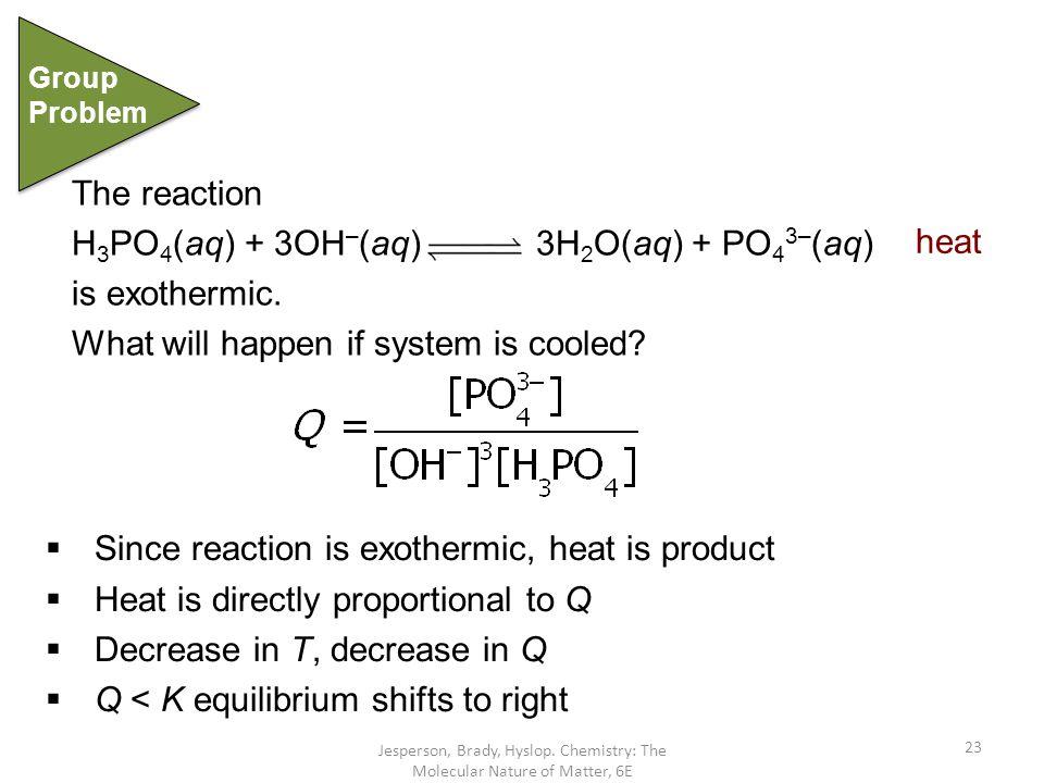 H3PO4(aq) + 3OH–(aq) 3H2O(aq) + PO43–(aq) is exothermic.