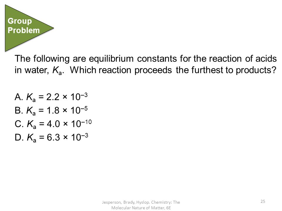 Group Problem. The following are equilibrium constants for the reaction of acids in water, Ka. Which reaction proceeds the furthest to products