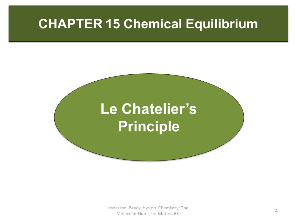 CHAPTER 15 Chemical Equilibrium Le Chatelier's Principle