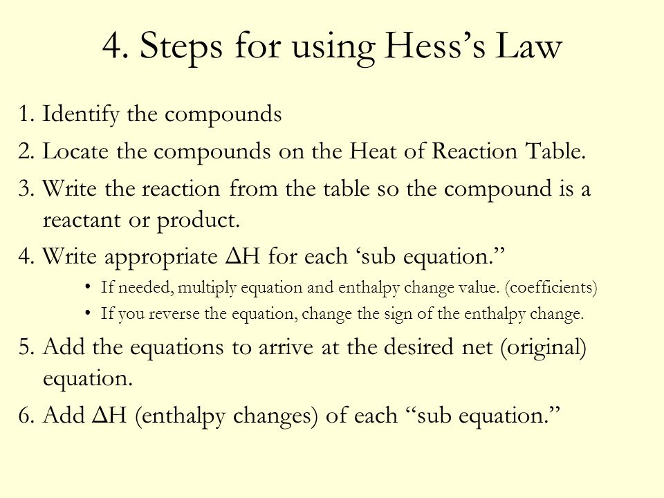 4. Steps for using Hess's Law