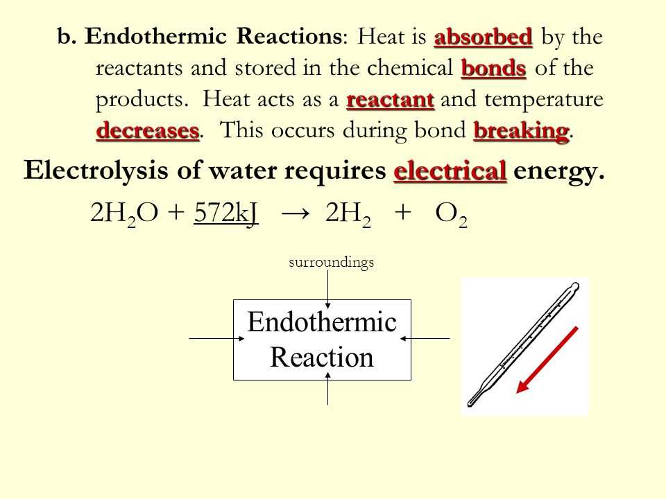 Electrolysis of water requires electrical energy.