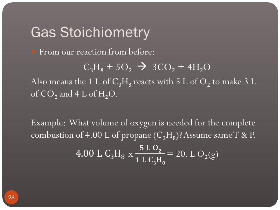 Gas Stoichiometry C3H8 + 5O2  3CO2 + 4H2O