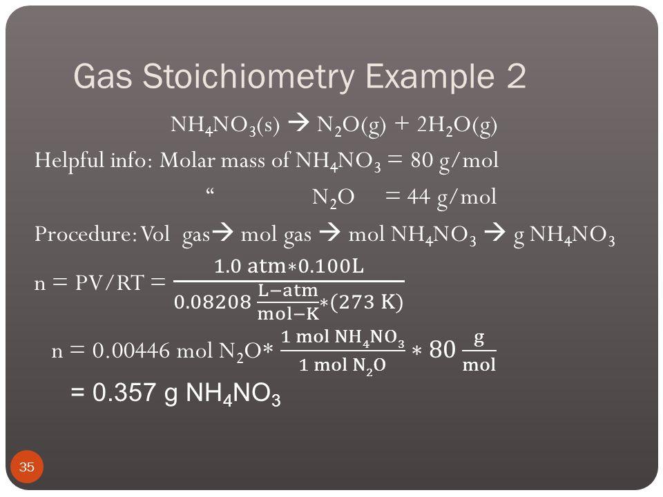Gas Stoichiometry Example 2