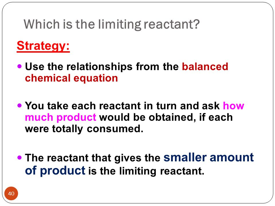 how to find which is limiting reactant
