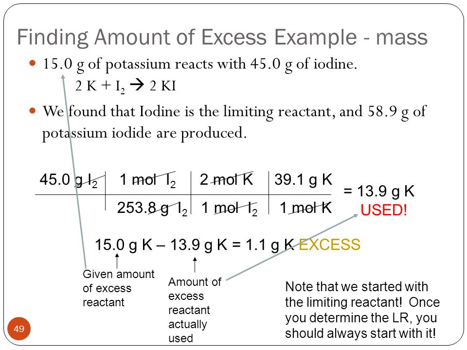 Finding Amount of Excess Example - mass