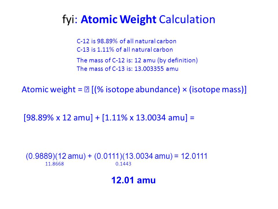 fyi: Atomic Weight Calculation