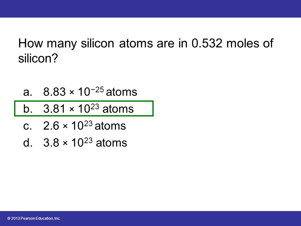 How many silicon atoms are in 0.532 moles of silicon