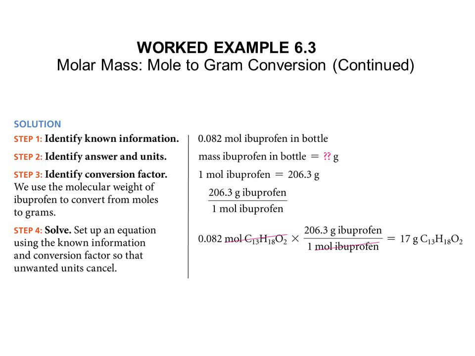 WORKED EXAMPLE 6.3 Molar Mass: Mole to Gram Conversion (Continued)