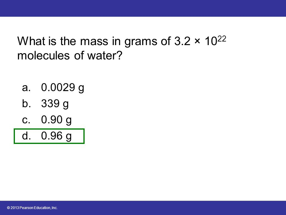 What is the mass in grams of 3.2 × 1022 molecules of water