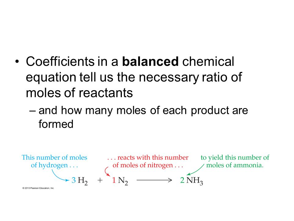 Coefficients in a balanced chemical equation tell us the necessary ratio of moles of reactants