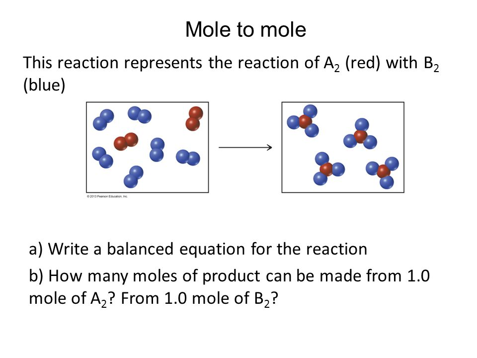 Mole to mole This reaction represents the reaction of A2 (red) with B2 (blue) Chapter 6, Unnumbered Figure 2, Page 174.