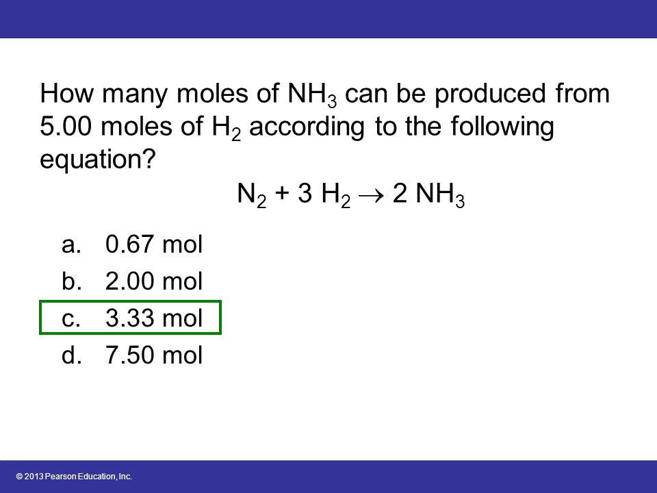 How many moles of NH3 can be produced from 5