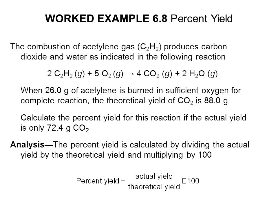 WORKED EXAMPLE 6.8 Percent Yield