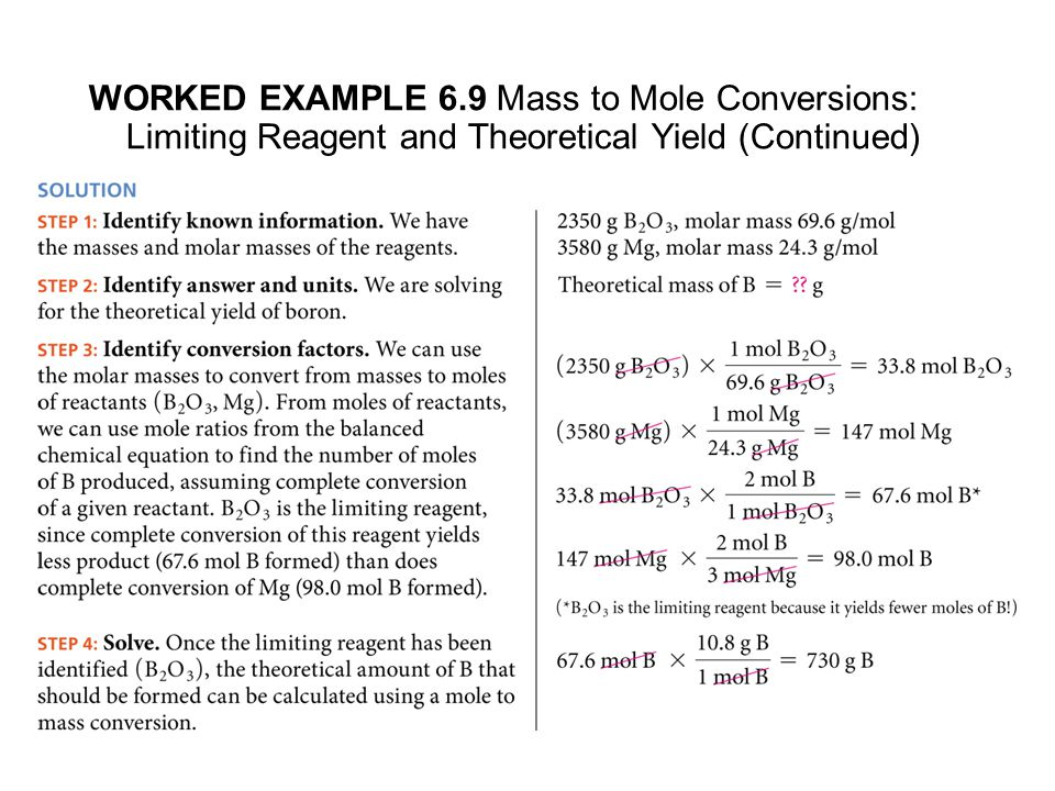 WORKED EXAMPLE 6.9 Mass to Mole Conversions: Limiting Reagent and Theoretical Yield (Continued)