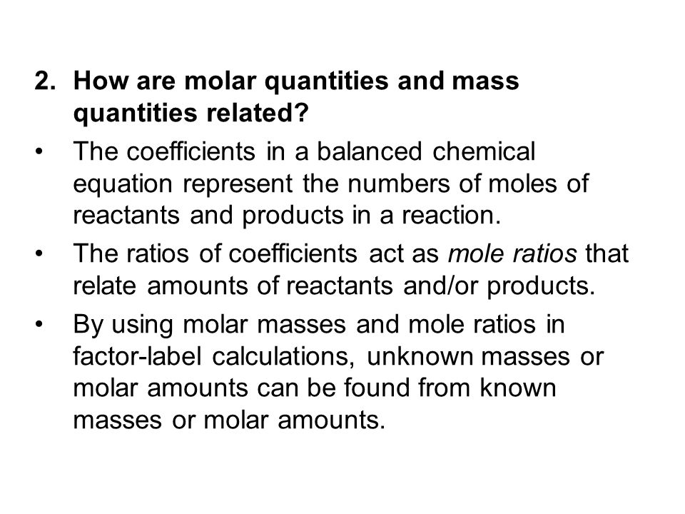 How are molar quantities and mass quantities related