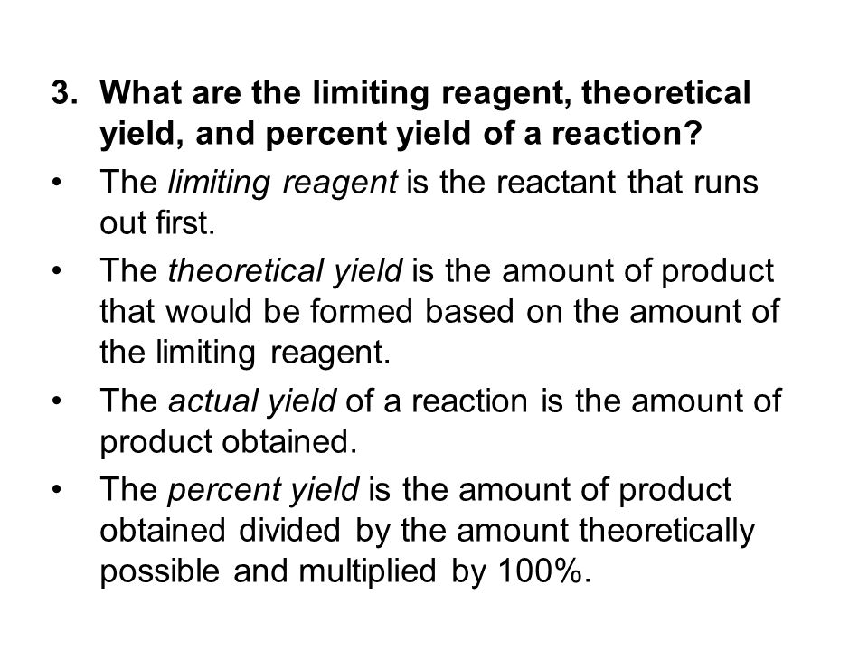 What are the limiting reagent, theoretical yield, and percent yield of a reaction