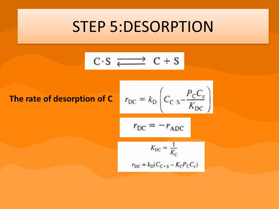 STEP 5:DESORPTION The rate of desorption of C